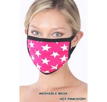 So Essential Washable Mask - Hot Pink Ivory Star Print