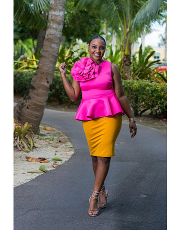 Knock Out Punch Peplum Top Pink