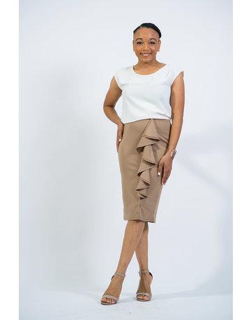 Cascading Ruffle Pencil Skirt