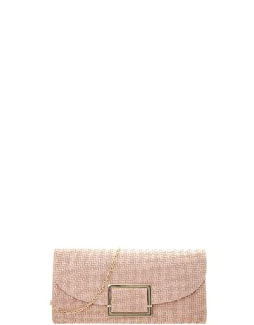 Any Occasion Straw Look Clutch - Pink