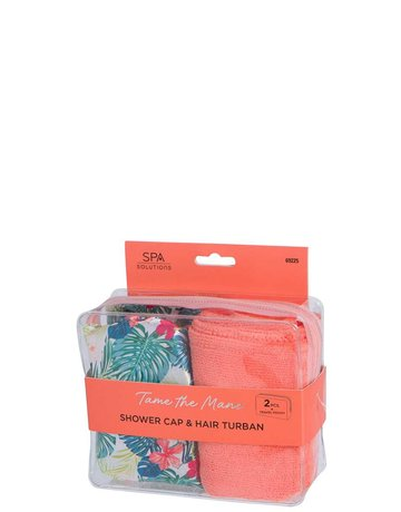 Tame The Mane Shower Cap & Hair Turban - Coral