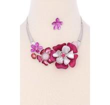 Hard To Bloom Necklace Set - Fuchsia
