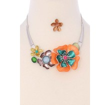 Hard To Bloom Necklace Set - Mint