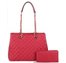 State Of Mind Quilted Handbag Set - Red