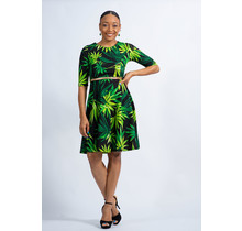Bamboo Leaves Belted Dress