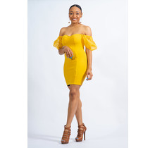 Don't Be Fooled Puff Sleeve Dress - Yellow
