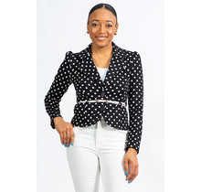 Handling Business Polka Dot Belted Blazer - Black