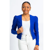 Interview Ready Ruched Sleeve Blazer - Royal Blue