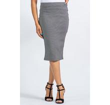 Running Late Checkered Midi Skirt