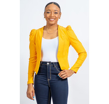Interview Ready Ruched Sleeve Blazer - Yellow