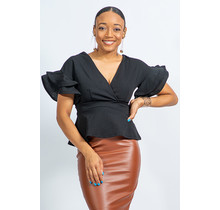 On The Rise Ruffle Sleeve Top - Black