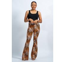Go Easy Leopard High Waist Bell Bottom Jeans