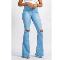 Boogie Babe High Waist Bell Bottom Jeans - Light Wash