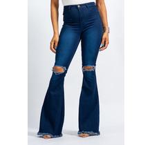 Boogie Babe High Waist Bell Bottom Jeans - Dark Wash