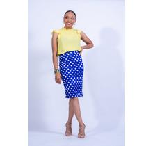 Spot The Dot Polka Dot Pencil Skirt - Blue