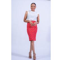 Spot The Dot Polka Dot Pencil Skirt - Red