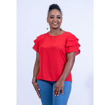 Level Up Ruffle Top - Red
