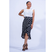 Playing Polka Dot Ruffle Skirt - Black