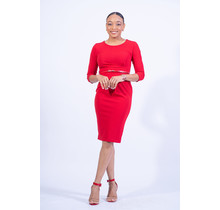 Finding My Way Belted Dress - Red