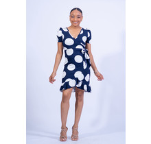 Giving It All Ruffle Dress - Navy Polka Dot