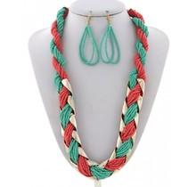 Beads Enriched Necklace Set - Mint/Coral