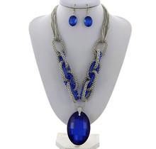 Profound Play Necklace Set -  Royal Blue