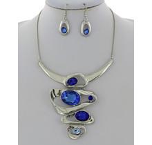 Lightning Bolt Necklace Set - Blue