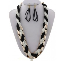 Beads Enriched Necklace Set  - Black/White