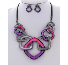 More of It Necklace Set - Purple