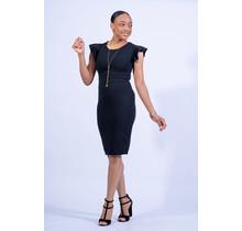 Best Yet Ruffle Sleeve Dress - Black