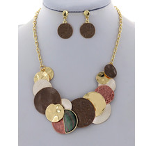 Jingles On Necklace Set - Brown