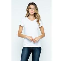 White V-Neck Knit T-Shirt PREMIUM COTTON