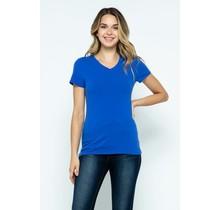 Dazzling Blue V-Neck Knit T-Shirt PREMIUM COTTON