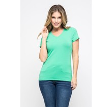 Apple Green V-Neck Knit T-Shirt PREMIUM COTTON