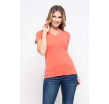 Coral V-Neck Knit T-Shirt PREMIUM COTTON