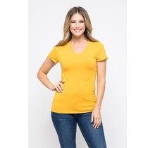 Mustard V-Neck Knit T-Shirt PREMIUM COTTON