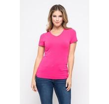 Fuchsia V-Neck Knit T-Shirt PREMIUM COTTON