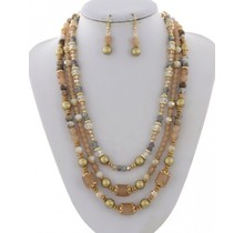 Pearl Harbor Necklace Set - Taupe