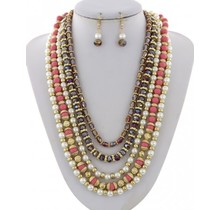 Oh Pearly Day Necklace Set - Coral