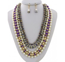 Oh Pearly Day Necklace Set - Purple