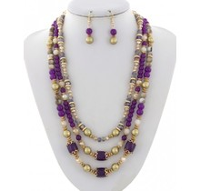 Pearl Harbor Necklace Set - Purple