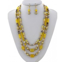 Pearl Harbor Necklace Set - Yellow