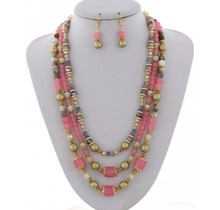 Pearl Harbor Necklace Set - Pink