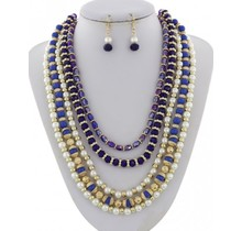 Oh Pearly Day Necklace Set - Royal Blue