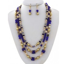 Pearl Harbor Necklace Set - Royal Blue