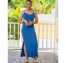 Calm Down Ribbed Maxi Dress - Blue