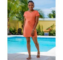 Big On Comfort Drawstring Dress - Coral