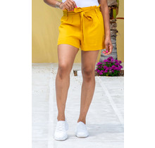 Take A Hint Linen Shorts - Bright Mustard