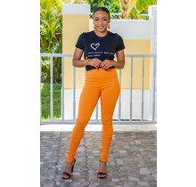 No Troubles High Waist Skinny Jeans - Orange