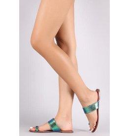 Spa Day Sandals - Green Hologram